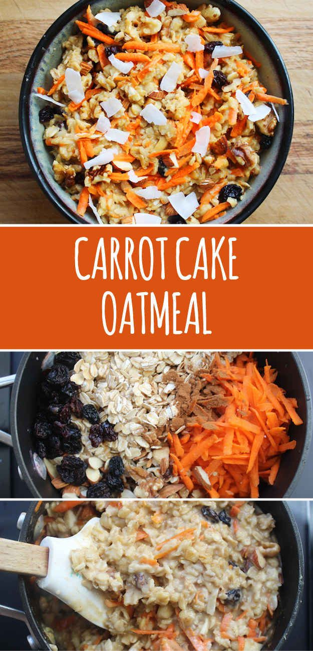 CARROT CAKE OATMEAL. (2 Servings: 1 cup rolled oats, ½ cup coconut milk, ½ cup water, pinch of salt, 1 large peeled carrot shredded into ½ cup, ½ teaspoon pumpkin spice or ground cinnamon, ½ teaspoon vanilla extract, 1 tablespoon maple syrup, 2 tablespoons chopped mixed nuts such as pecans and almonds and walnuts, 2 tablespoons raisins, optional 1 tablespoon shredded coconut)