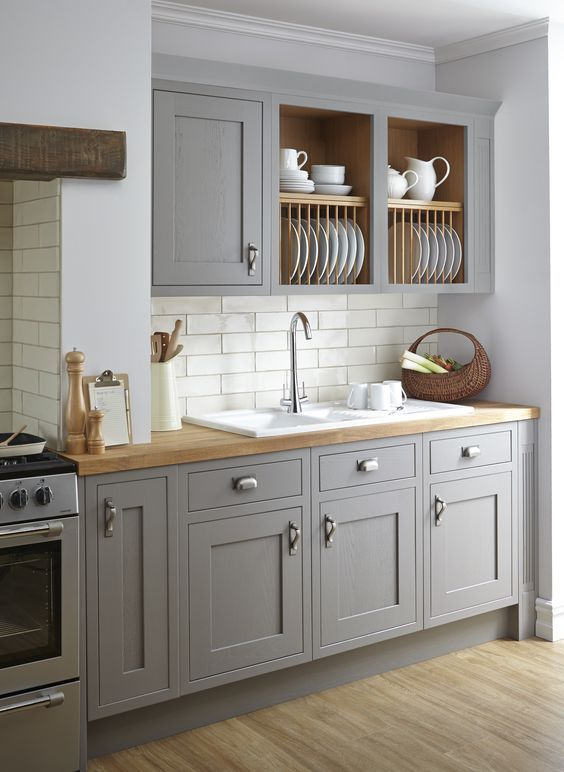 B Q Carisbrooke Taupe Kitchen Open 2 Cabinets For Plates