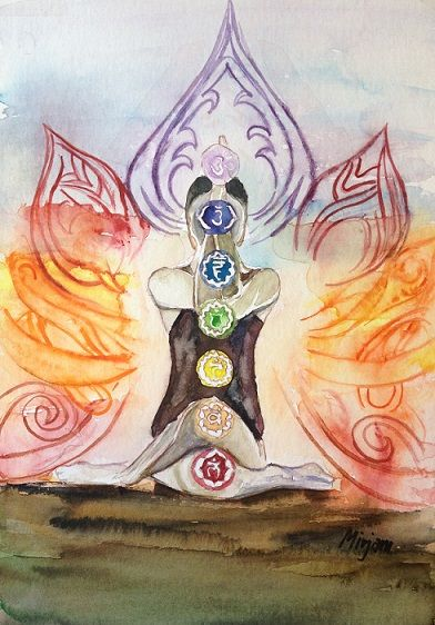 Chakras. Enlightment. Joga. Watrcolor/aquarell painting. Facbook page: https://www.facebook.com/pages/Mirjams-Art/152757271491447