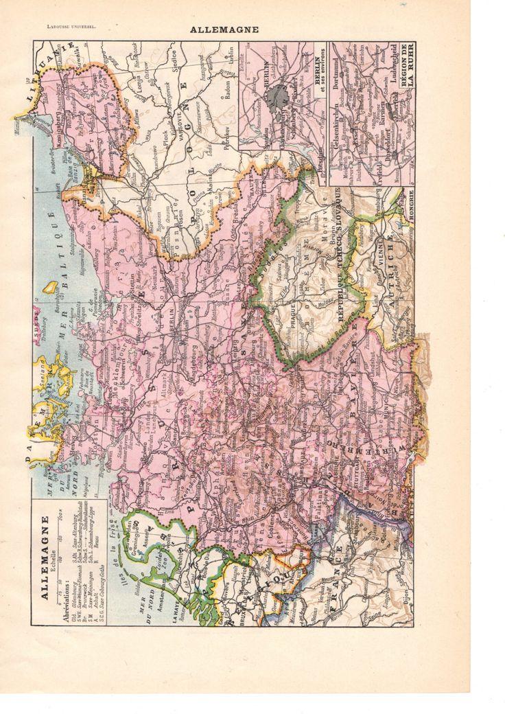 """Illustration vintage couleur """"Carte"""" Allemagne"""" Dictionnaire Français  1930/ Digital download de la boutique SoPrettyJoliVintage sur Etsy"""