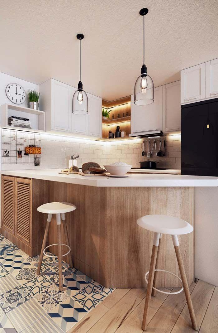Cozinha Americana Com Balcao De Madeira With Images Interior