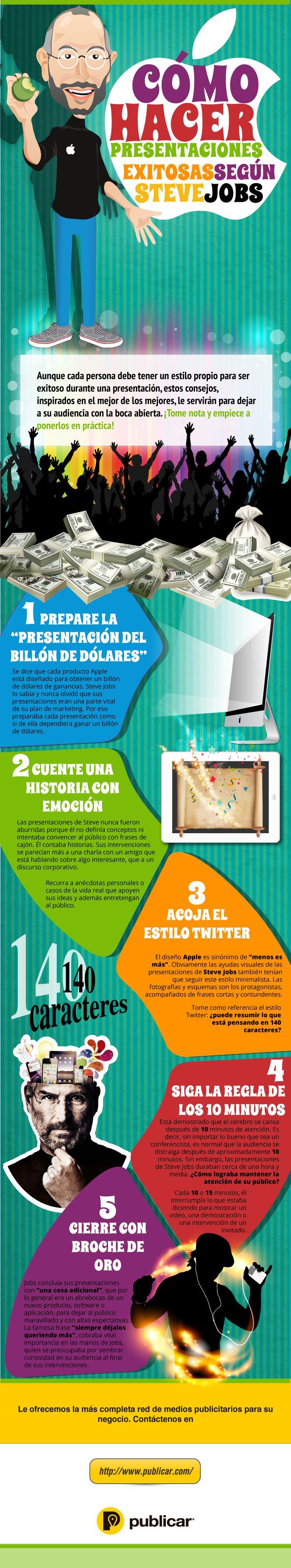 Infografía que nos muestra cómo hacer presentaciones exitosas según Steve Jobs.