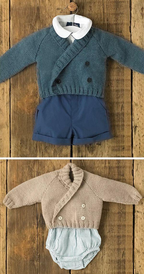 Aran baby knitting pattern jacket cardigan hood shawl collar double breasted PDF