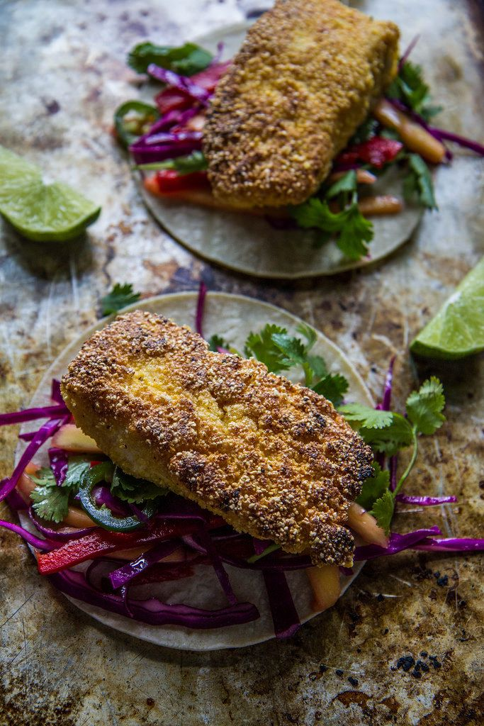 Cornmeal Crusted Halibut Tacos with Mango Slaw | heatherchristo.com