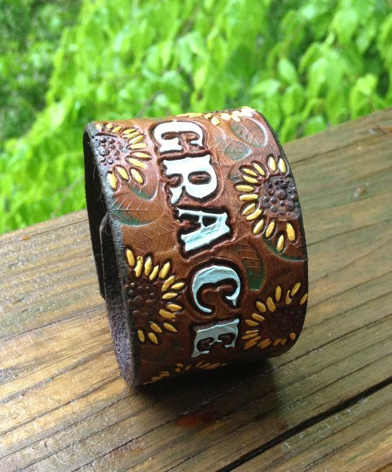 Leather Tooled Sunflower Cuff GRACE or your word by GratifyDesign, $28.00
