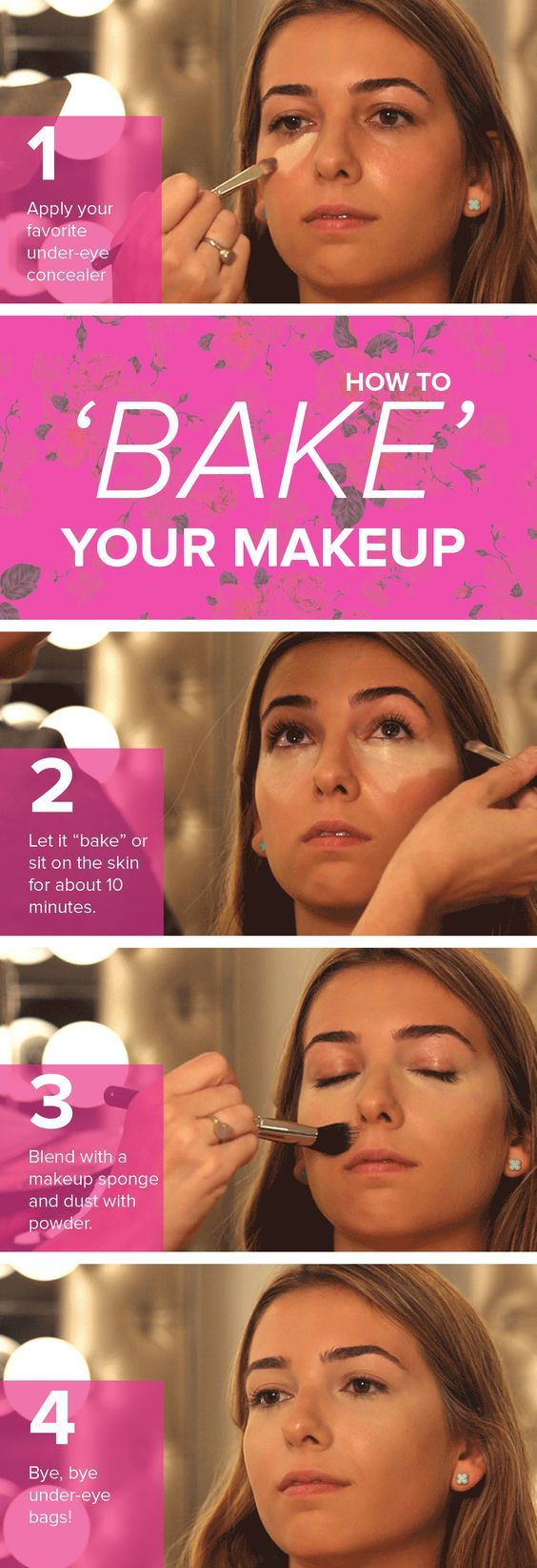 "Make your face glow and ensure your look lasts all day with this trendy technique, called ""baking."" By letting your makeup set and finishing with a translucent powder, your look will last longer."