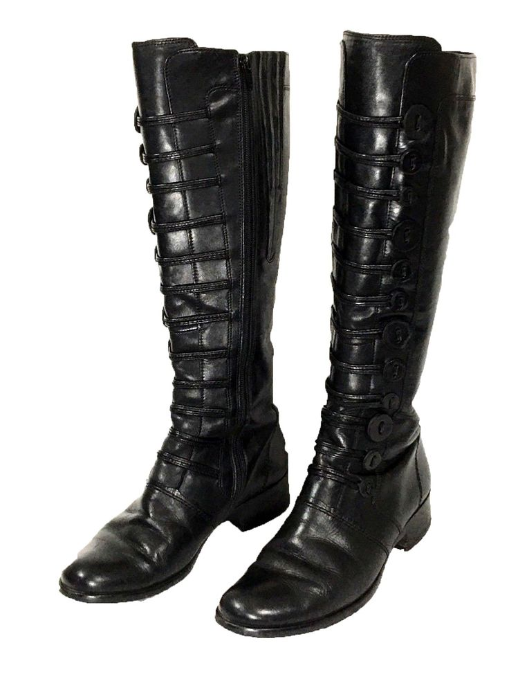 Gabor Boots Black Tall High Zipper Faux Buttons Womens Size Gabor 3.5 US 6 EU 36 - Preowned