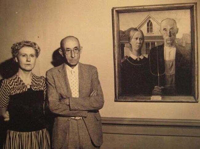 "Famous Moments In History, From A Different Angle: The models of the ""American Gothic"" painting."