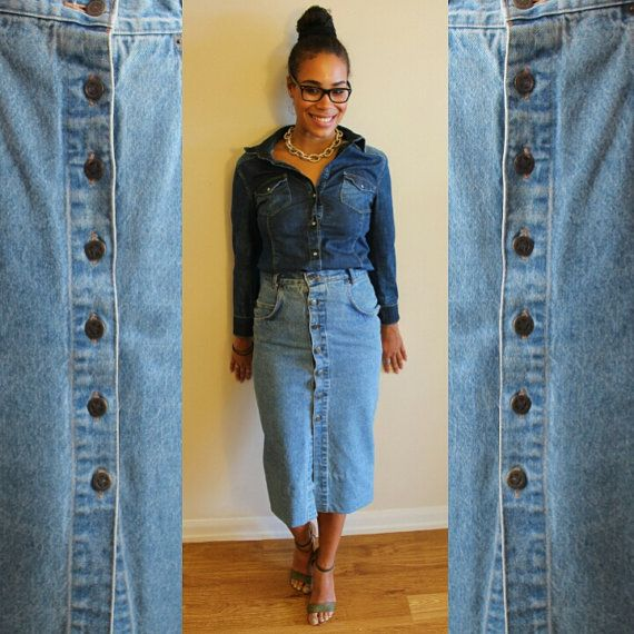 80s Pelican Cove Front Button Denim Skirt Size Medium
