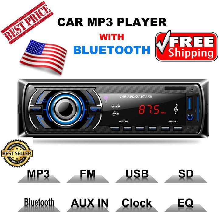 Single Din Mp3 Usb Sd Aux Radio Car Stereo Receiver Audio Am Fm With Bluetooth #LSLYA