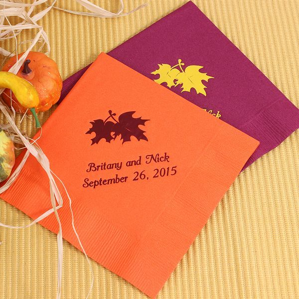 Accent your fall wedding with bold double leaves personalized wedding cocktail napkins custom printed with a fall leaf design and 3 lines of custom text.