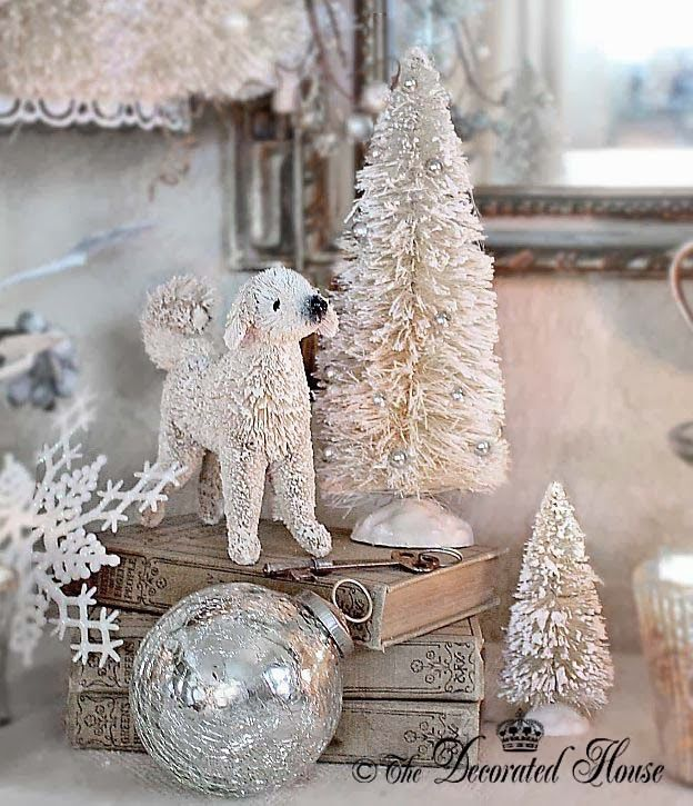 The Decorated House: ~ Christmas - Bless The Animals, Too. White Bottle Brush Dog & Christmas Trees with Mercury Glass, Antique Books & Key, with Snowflakes!