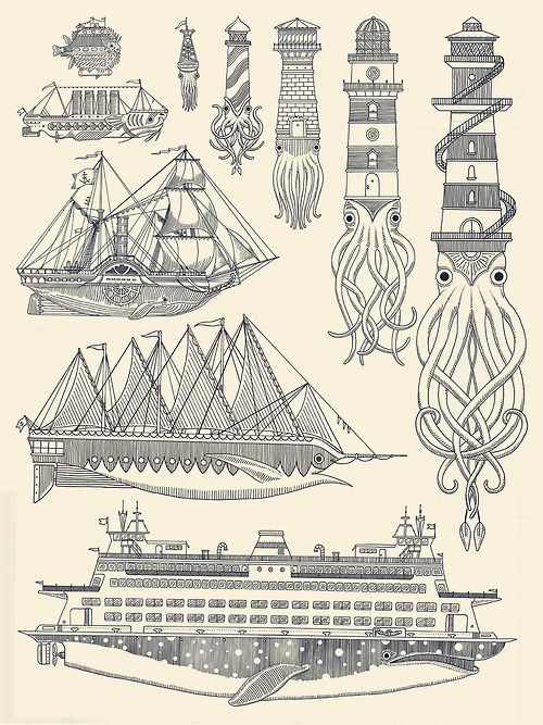 generallynautical:kylermartz:Whaleboats II Screenprint.2012.Kyler MartzLove it.Clever and beautiful prints by Kyler Martz.