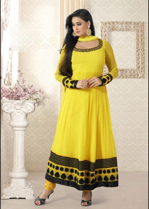Shweta Tiwari Designer Anarkali Salwar Suit In Yellow . Shop at - http://gravity-fashion.com/16017-shweta-tiwari-designer-anarkali-salwar-suit-in-yellow.html