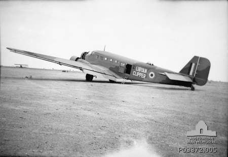 This Luftwaffe's transport aircraft Junkers Ju 52/3m was captured intact by the Australian forces at Ain-El Gazala, Libya, repainted with th...