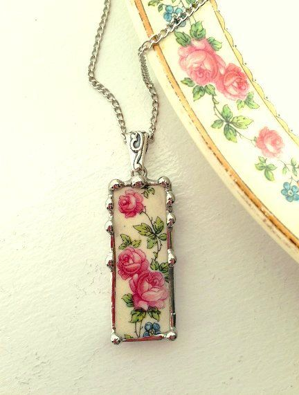 Broken china jewelry pendant necklace antique roses on vine made from a broken china plate