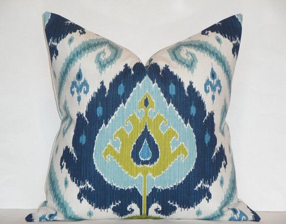 ikat 24 x 24 decorative pillow cover blue chartreuse throw pillow accent pillow