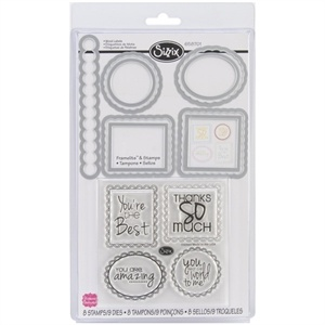 Picture of Sizzix Framelits Dies 9/Pkg With Clear Stamps