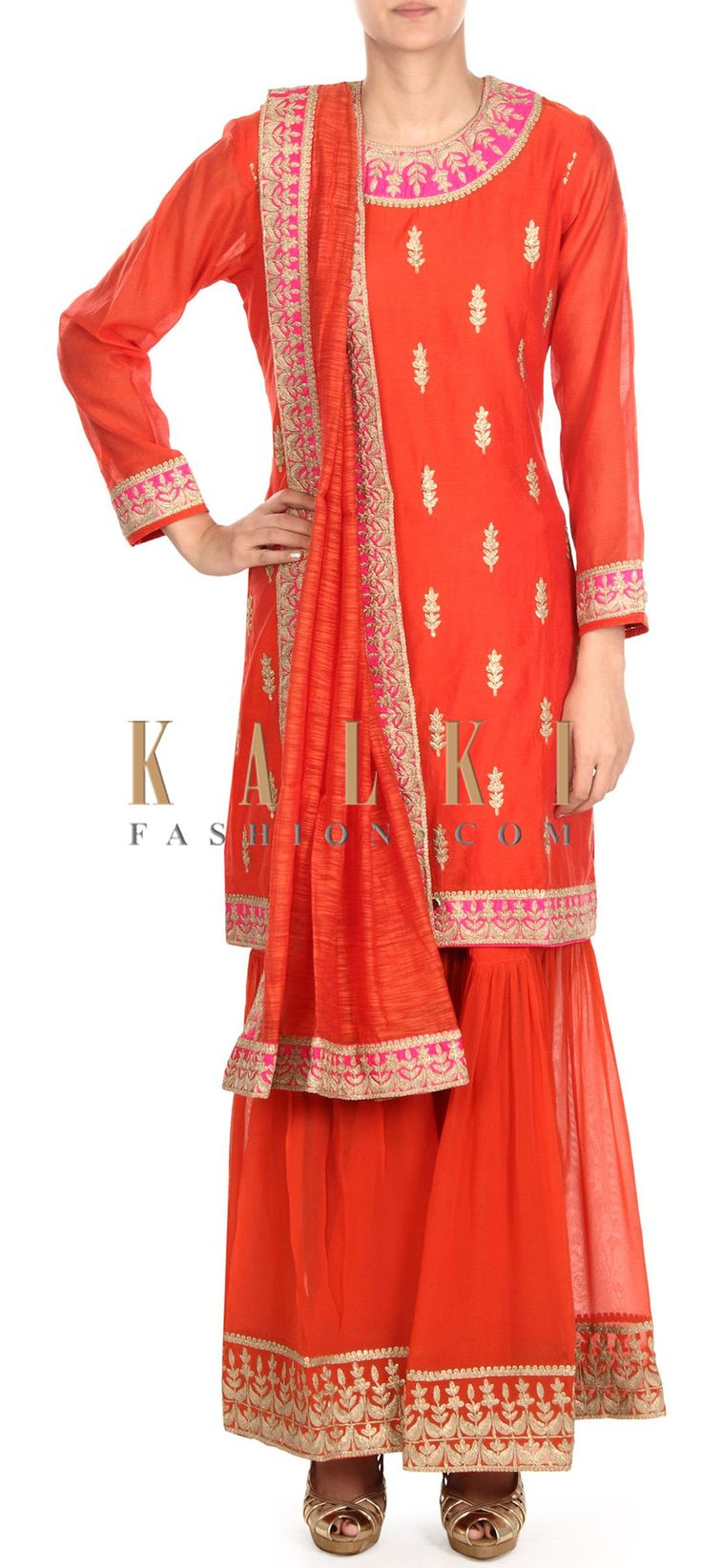 Buy this Orange suit adorn in zari embroidered butti only on Kalki