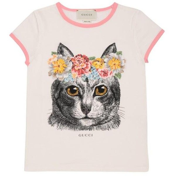 Gucci Cat cotton jersey t-shirt ($135) ❤ liked on Polyvore featuring tops, t-shirts, shirts, bianco, cat tee-shirt, cotton jersey t shirt, pink t shirt, pink shirts and cat t shirt