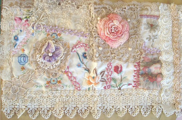 I ❤ crazy quilting & embroidery . . . Shabby Collage Book wrap~  Another eclectic mix of vintage linens & crocheted doilies & some very yummy ancient lace. A deliciously tactile book wrap for that precious keepsake. ~By Stitching Always