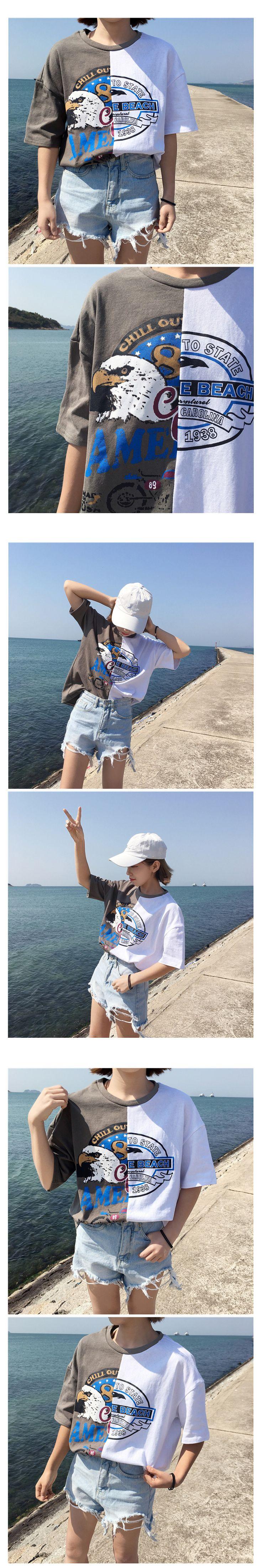 Camisa de La Tapa 2017 de Primavera y Verano Nuevas Camisetas Harajuku Ulzzang coreana Print Vintage Patchwork Asimétrica Camiseta de Las Mujeres Camisas Casuales en Camisetas de Ropa y Accesorios de las mujeres en AliExpress.com | Alibaba Group