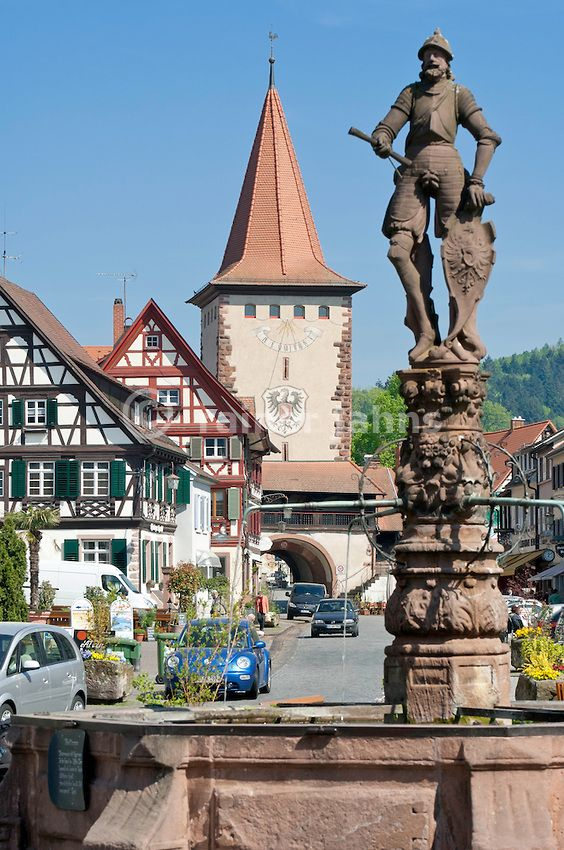 Gengenbach centre with Upper Gate and Town Fountain - Black Forest - Baden-Wurttemberg   Germany