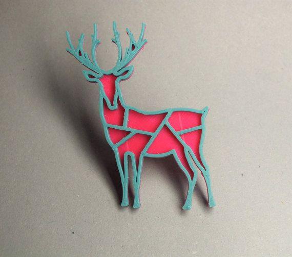 3D printed - Deer magenta/turquoise blue