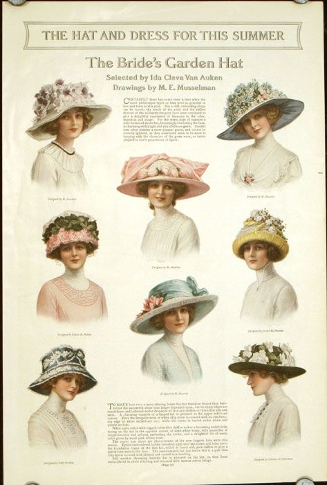 """The Ladies' Home Journal, 1914. """"The Hat and Dress for This Summer. The Bride's Garden Hat"""""""