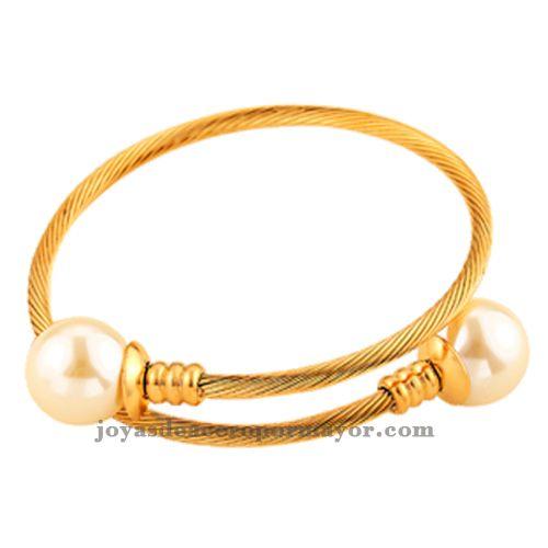 18k gold wire bracelet with pearl ending -SSBTG401180