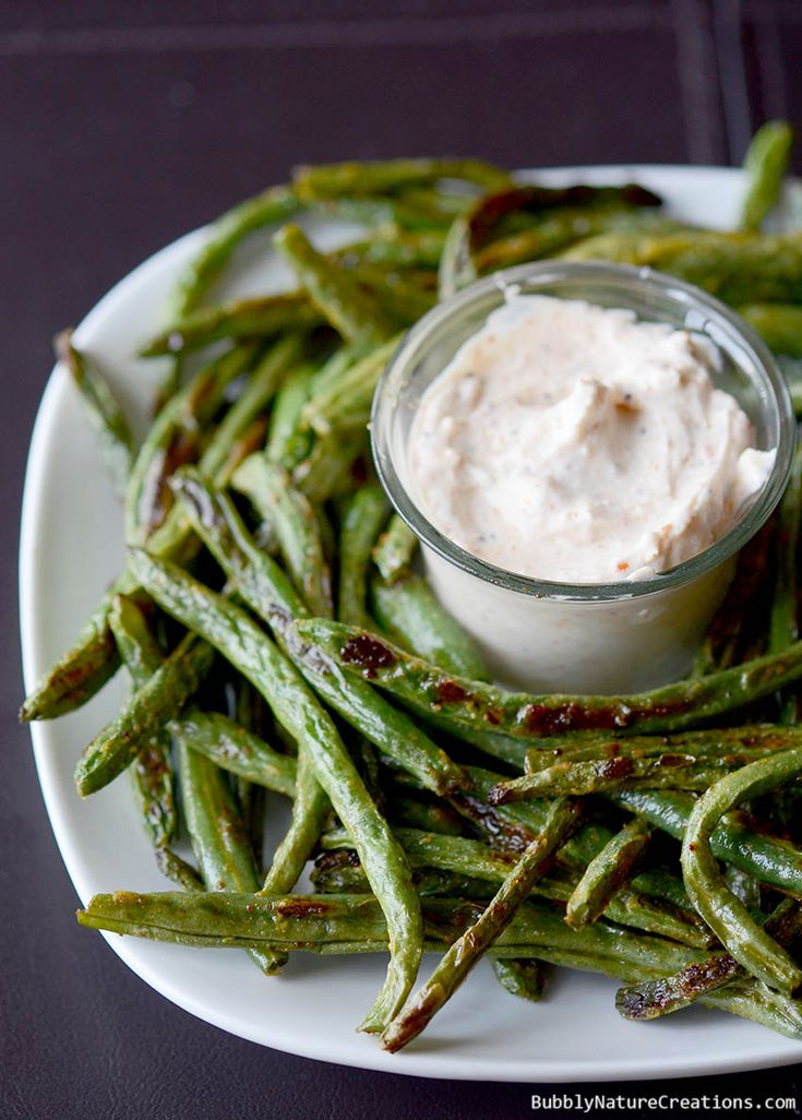 Roasted Green Bean Fries with Creamy Dipping Sauce!  These fries are amazing and even taste better than potato french fries!!!  Roasting is the key to great veggies.