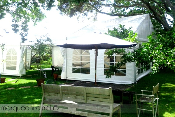 We thought this marquee nestled amongst the trees by a picnic table was a really nice use of space. Wedding Marquee Hire NZ