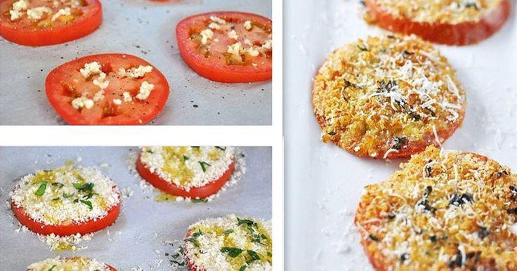 Opravdová rychlovka. Žádné zbytečné kalorie. Plátek rajčete, sýr, bylinky sýr a křupavá kůrčička. K televizi, pro návštěvy nebo jen pro radost. Ingredience 1 velké rajče, nakrájené na čtyři plátky 1/4 hrnku nastrouhaného sýru parmezán (můžete nahradit i méně tučným sýrem, ale parmezán je ideální a tvrdý sýr) 1/4 hrnku strouhanky 2 stroužky třeného česneku (můžete ...