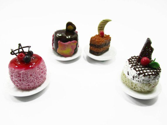 Set of 10 Mini Assorted Fruit Cakes Dollhouse Miniatures Food Deco Cute,Cake