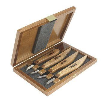 Komplet noży snycerskich NAREX Profi w drewnianej kasecie - 4 częściowy nr kat. 8691 00
