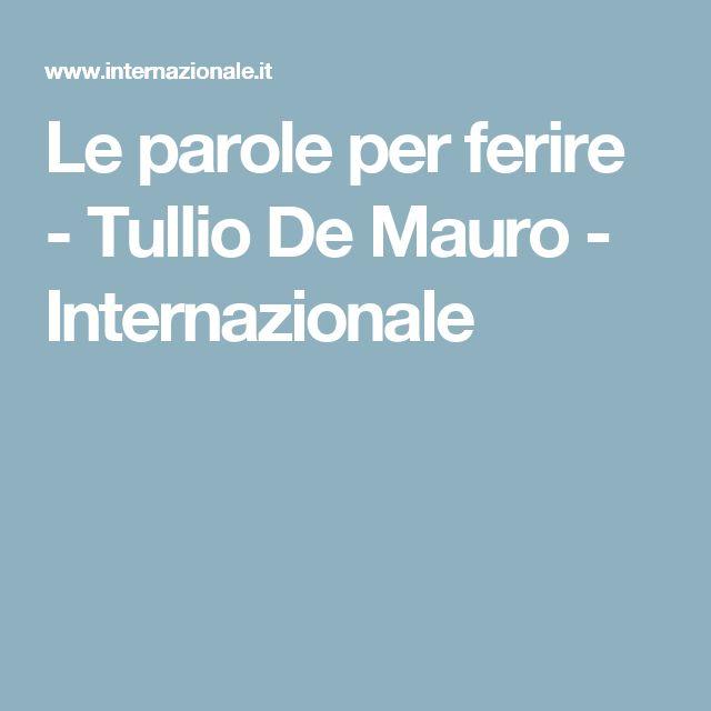 Le parole per ferire - Tullio De Mauro - Internazionale