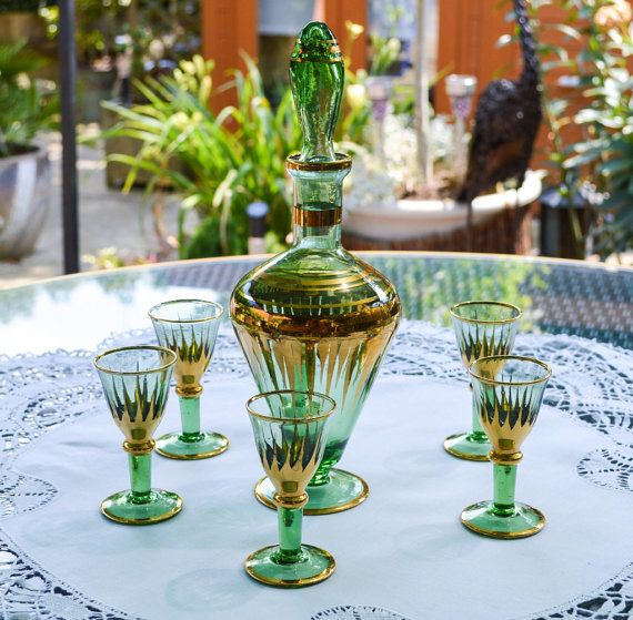 Art Deco Glass Decanter and Liqueur Glasses Set - Green Glass With Gold