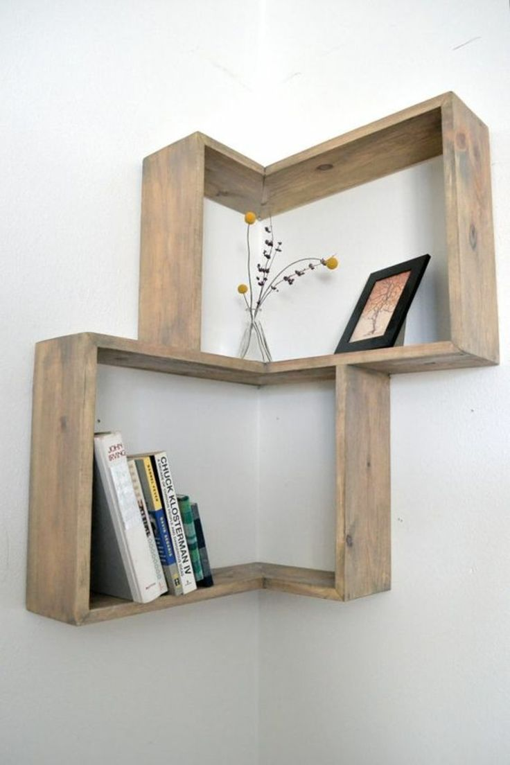 DIY corner shelves for books and plants