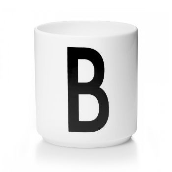 Design Letters Arne Jacobsen Letter Cup: Design Letter porcelain cups with letters of the alphabet in black typography designed by the Danish Architect Arne Jacobsen in 1937. -Packaged in a beautiful box