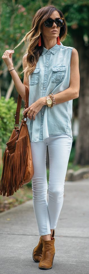 Sleeveless Chambray Button Up by Sequins & Things