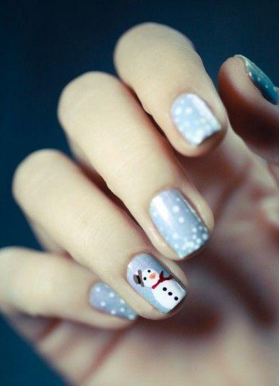 Pupazzo di neve per nail art natalizia