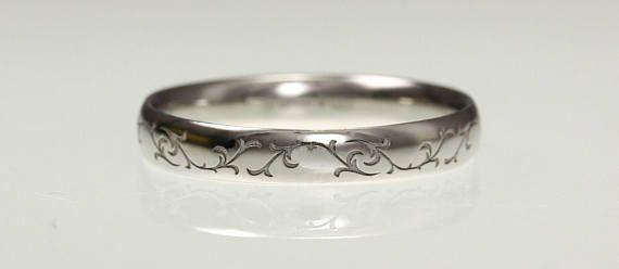 Platinum Wedding Ring Vine Leaf Engraved Ladies Wedding Band Etsy Wedding Ring Bands Platinum Wedding Rings Rings