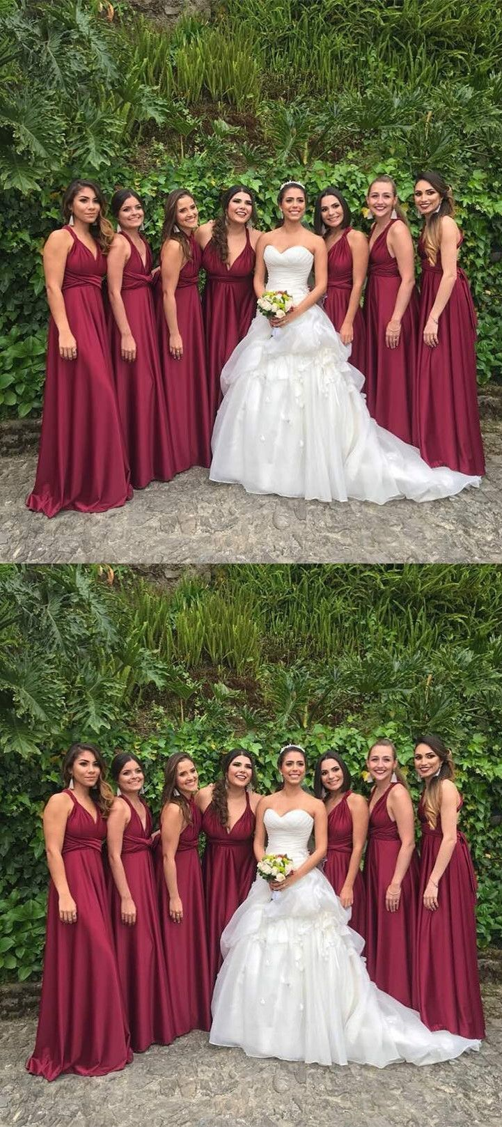209b224fdd0 A-Line V-Neck Floor Length Pleated Pink Satin Bridesmaid Dress ...