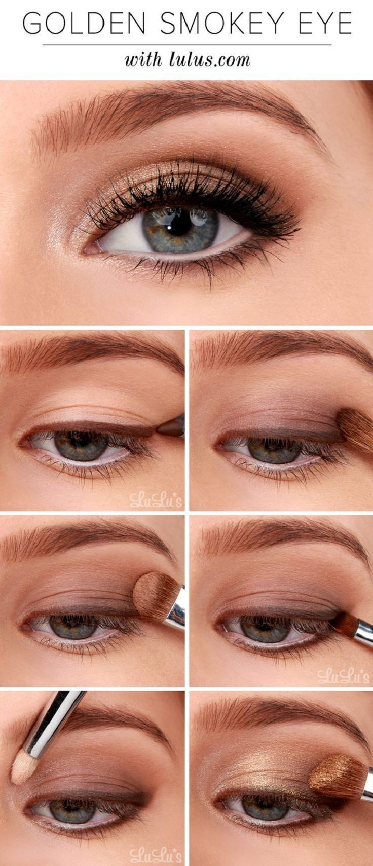 Smokey Eyes:  Steps:  – Begin by applying chocolate brown pencil eyeliner to the upper lash line, and white pencil eyeliner to the lower waterline. – Sweep a matte, dark brown eyeshadow lightly across the lower third of the lid. – Next, apply a matte medium brown eyeshadow across the crease. – Choose a small angled brush and apply dark brown shadow to the lower lash line. – Add a hint of champagne shimmery eyeshadow to the inner corner of the eye to create a pop. – Apply a golden shimmer…