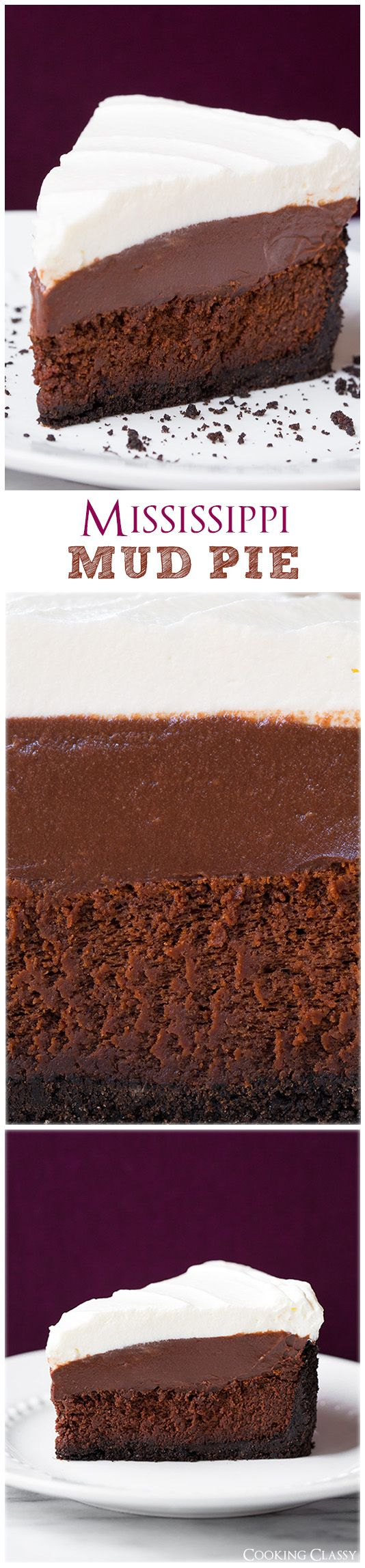 Mississippi Mud Pie - this pie is seriously dreamy!! Four layers of total deliciousness! From @cookingclassy