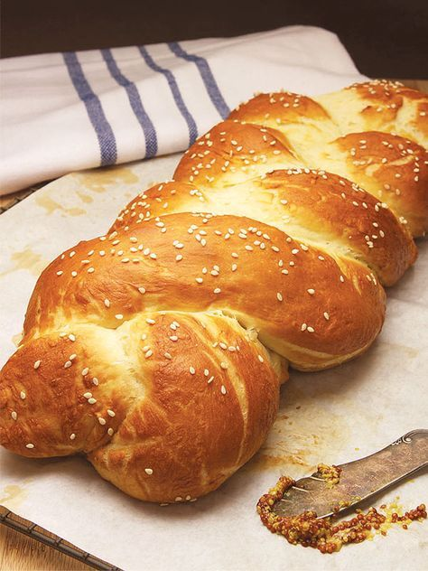 "Mayim Bialik's Vegan Hot Pretzel Challah Bread! Traditional challah, crusty on the outside and soft in the middle, ""does not need eggs or dairy to be delicious,"" says the Big Bang Theory actress! And here's the recipe! #MyVeganJournal"