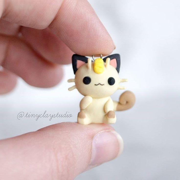 Polymer clay kawaii meowth pokemon charm
