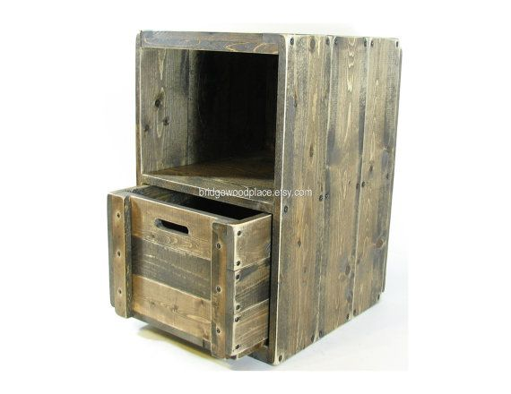 Wood crate furniture side table wooden end table solid for Wooden crate end table
