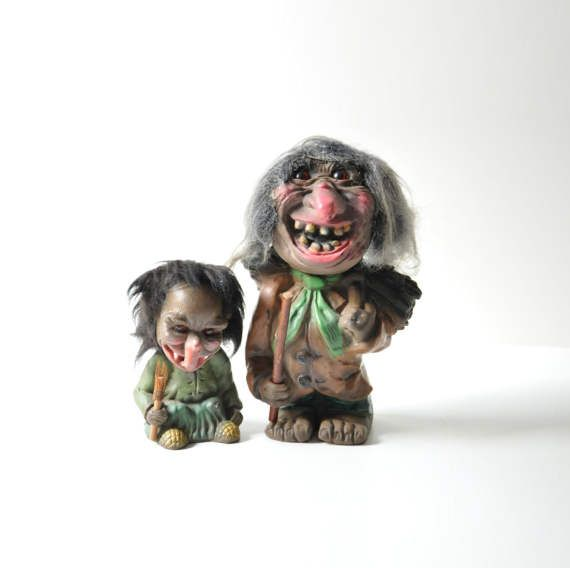 Very very creepy and very very ugly collectible Heico bobble head trolls made in West Germany in the 1960s.  Both in great vintage condition. (this listing includes both trolls)  - - - - - - - - - - - - - - - - - - - - - - - - - - - - - - - - - - - - - - - - - - - - - - - - - - - - - - - -  Please take a closer look at all photos for the best idea of its condition.  Keep in mind that all items in our shop are used vintage or antique finds and they might show wear consistent with age.  Feel…
