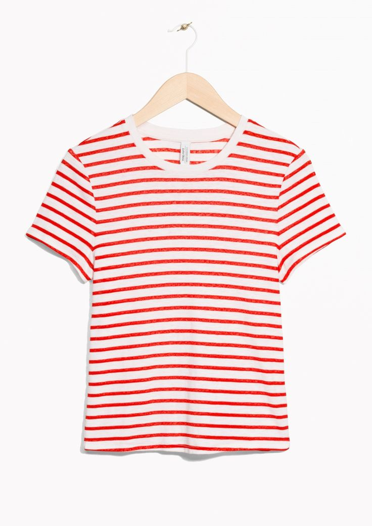 & Other Stories image 1 of Striped Cotton Tee in Red